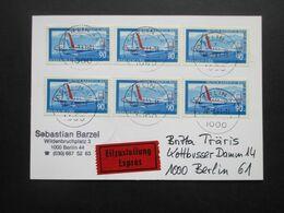 Berlin 1979 Jugend Luftfahrt Nr. 595 (6) MeF Eilzustellung Expres Berlin Ortsbrief / Orts PK - Cartas