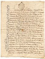 """Cachet GENERALITE D' AUCH Sur Manuscrit """" Par Devant Le Notaire Royal De MIRANDE ... Espallière..."""", SAINT-CLAMENS 1788. - Matasellos Generales"""