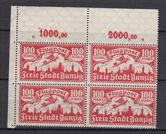 Danzig - 1923 - Michel Nr. 135 Viererblock P OR Ecke - Postfrisch - 40 Euro - Danzig