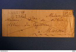 B94 FRANCE LETTRE RARE 1845 SARDAIGNE MENTON POUR MARSEILLE+ CACHET ROUGE - 1801-1848: Précurseurs XIX