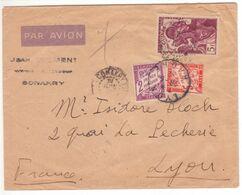 TAXE 5F Orange Banderole Duval (+ 2F Violet) LYON 1942 / Lettre PAR AVION CONAKRY Guinée Française Timbre 5F - Taxes