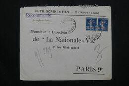 SYRIE - Enveloppe Commerciale En Recommandé De Beyrouth  Pour Paris, Affranchissement  Semeuses En Paire - L 64831 - Covers & Documents