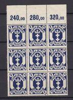 Danzig - 1922 - Michel Nr. 123 Y Neunerblock P OR - Postfrisch - 40 Euro - Danzig