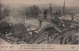MARNE-Ay -Révolution En Champagne-Avril 1911-Ruines De L'établissement Deutz & Geldermann - ELD - Ay En Champagne