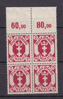 Danzig - 1922 - Michel Nr. 96 Viererblock P OR - Postfrisch - 20 Euro - Danzig