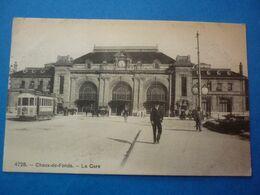 SUISSE  CHAUX DE FONDS  LA GARE  VOYAGEE TIMBREE 1908 - Sonstige