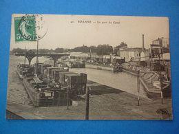 FRANCE ROANNE  LE PORT DU CANAL VOYAGEE TIMBREE 1909 - Roanne