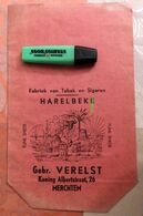 "Sachet Rouge En Carton ""fabriek Van Tabak En Sigaren - Fjine Snede"" Gebr. Verelst Merchtem - Tabac - Boites à Tabac Vides"