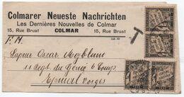 Bande Journal Non Affranchie 1923 COLMAR > EPINAL Taxe 4 X 1c Noir Banderole Duval Bonne Date Fin D'usage De La Valeur ! - Taxes