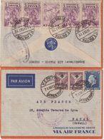 GRECE : PA . D ' AIR FRANCE à CORFOU . POUR NATAL ( BRESIL ) . 1937 . - Grèce