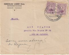 """PARAGUAY : PA . DE """" ASUNCION """" POUR AIR FRANCE AU BRESIL . 1936 . - Paraguay"""