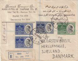 "JORDANIE : PA . REC . DE "" IRBID "" . POUR LE DANEMARK . 1954 . - Jordania"