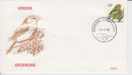 Belgie Andre Buzin Birds 2461 FDC Brussel - Bruxelles 1992 Groenling - Verdier - 1991-00