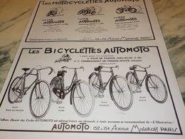 ANCIENNE PUBLICITE MOTOCYCLETTES ET LA BICYCLETTE   AUTOMOTO 1927 - Moto