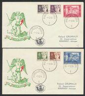 """FDC (1954) - Antituberculeux çàd N°955/60 Sur 2 Enveloppes Illustrées """"Pro Tuberculatis Belli"""". Bruxelles > Borgerhout ( - FDC"""