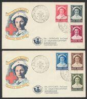 """FDC (1953) - Croix-rouge çàd N°912/17 Sur 2 Enveloppes Illustrées + Cachet Temporaire """"La Croix-rouge Et La Poste, Expos - FDC"""