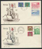 """FDC (1950) - Antituberculeux çàd N°834/40 Sur 2 Enveloppes Illustrées """"Pro Tuberculatis Belli"""". Superbe - FDC"""
