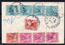 Taxe D'Eymet Sur MIGNONETTE D'ITALIE TAXE 18FRCS GERBES REEXP A NICE ET NOUVELLE COMPO GERBES! TTB 1954 - Postage Due Covers