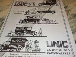 ANCIENNE PUBLICITE LA REINE DES  CAMIONNETTE UNIC   1927 RASPAIL - Camion