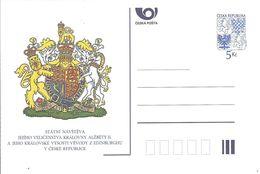 CDV 16 Czech Republic Royal Visit Of Elisabeth II. 1996 Heraldic Lion Unicorn - Armoiries