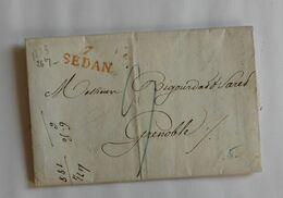 Ardennes 1823 – Marque 7 SEDAN – BIGOURDAN SAREL Grenoble – LABAUCHE Sedan - Storia Postale