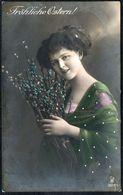 5973 - Porträt Mode Frisur Hübsche Junge Frau Coloriert - Pretty Young Women - Glückwunschkarte Ostern Gel Eibau - Pâques