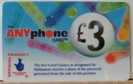 PR60 -  PREPAGATA - ANYPHONE CARD 3 STERLINE - CARDCALL UK  - SCAD. -- N° 11 NL 851371 - Royaume-Uni