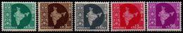 India 1957-1958, Scott 275 277 279 282 288, Wmk Star, MNH, 277 NG, Map - Oblitérés