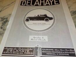 ANCIENNE PUBLICITE PREMIER SECOURS RAPIDE POMPIER LE CAMION DELAHAYE 1927 - Trucks