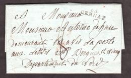 """LAC - 27 Avril 1805 - Thann (Haut-Rhin) Port Dû """"66 Cernay"""" 8 Décimes Pour Bergues (St Winoc?) Nord - Marcophilie (Lettres)"""