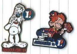 Magasins Leclerc Sponsor Festival Angouleme Bande Dessinée 1992 Et 1994 Lot 2 Pins - BD
