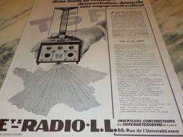 ANCIENNE PUBLICITE TOUTE LA FRANCE  RADIO LL 1927 - Radio & TSF