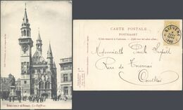 """Marcophilie - Fine Barbe N°54 Sur CP Vue (Alost) + Obl Relais """"Biévène"""" > Courtrai. - Marcofilia"""