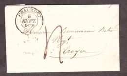 LAC - 5 Septembre 1839 - T13 Chaumont (Hte Marne) Pour Troyes (Aube) - Port Dû 4 Décimes - Verso T13 Troyes - Poststempel (Briefe)