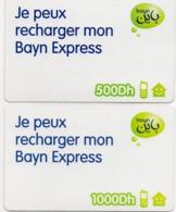 97  Maroc Marokko Morocco   Carte Revendeurs 2 Recharges Express Bayn 500/1000 Dh - Maroc