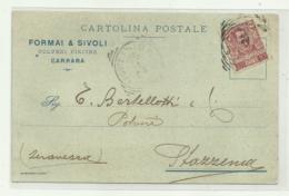 CARRARA  - FORMAI  & SIVOLI POLVERI PIRICHE 1904  VIAGGIATA FP - Carrara