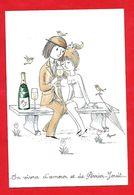 Peynet - Les Poupées -On Vivra D'amour Et De Perrier- Jouët -parapluie; Carte Double - Peynet
