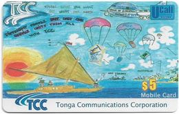 Tonga - TCC - Boat & Parachutes (Yellow FV) Exp. 31.12.2010, GSM Refill 5$, Used - Tonga