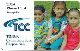 Tonga - TCC - 3 Children, Exp. 30.06.2003, GSM Refill 10$, Used - Tonga