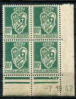 ALGERIE N°189 ** EN BLOC DE 4 DATE DU 7-10-42 - Unused Stamps