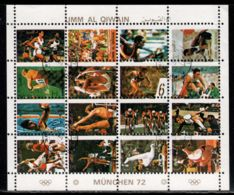 Umm Al-Qiwain 1972 Mi# 954-969 A Zd-Bogen (4 X 4) Used - Small Format - Summer Olympics, Munich - Umm Al-Qiwain