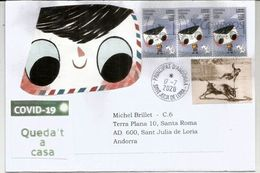 The Little Envelope & His Dog Go To Class,winning Stamp Design,letter Sent Andorra During COVID19 W/prevention STAY HOME - 2011-... Lettres