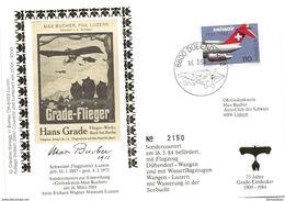 """246 - 34 - Enveloppe Suisse Gedenkstein Max Bucher""""* Cachet Illustré Dübendorf 1984 - Vol Par Hydravion - Aviones"""