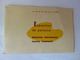 Invitation Exposition De Peinture - Jacques Claramunt, Henry Manavit - 1963 - Sonstige