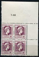 ALGERIE N°210 ** EN BLOC DE 4 DATE DU 7-44 - Unused Stamps