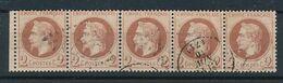 DS-93: FRANCE: Lot Avec Napoléon Lauré N° 26 Obl Bande De 5 (pli Horizontal + Amorce De Séparation) - 1863-1870 Napoleon III With Laurels