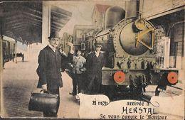 A Mon Arrivée à Herstal Je Vous Envoie Le Bonjour (animée Colorisée Train) - Herstal