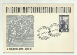 V GIRO MOTOCICLISTICO D'ITALIA - 4a TAPPA RICCIONE - AREZZO 9 APRILE 1957 - NV FG - Sport Moto