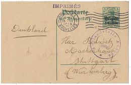Germany 1915 Belgium WWI Censored Postal Stationery Card - Occupation 1914-18