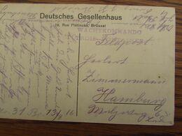 Carte Vue (BXL) En Feldpost (1916). Mention WACHTKOMMANDO TROIS-FONTAINES - WW I